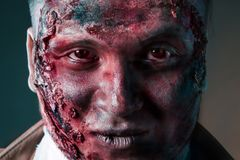Portrait of scary bad zombie at  night Stock Image