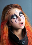 Portrait of scary girl with white eyes for Halloween Royalty Free Stock Images
