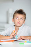 Portrait of school boy with thoughtful look Stock Images