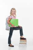 Portrait of school girl holding books. Stock Photos