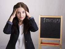 Portrait of a school teacher, that clings to the head Stock Photography