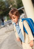 Portrait of schoolboy with  backpack Royalty Free Stock Photo