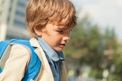Portrait of schoolboy with  backpack Stock Photography