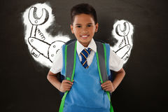 Composite image of portrait of schoolboy carrying schoolbag against white background Royalty Free Stock Images