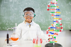 Portrait of schoolboy doing a chemical experiment in laboratory Stock Photos