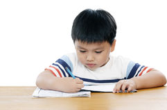 Portrait of a schoolboy doing his homework Royalty Free Stock Image
