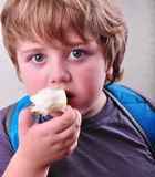 Portrait of schoolboy eating apple Stock Photography