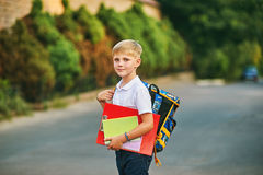 Portrait of a schoolboy on the street with a backpack and notebooks Stock Photo
