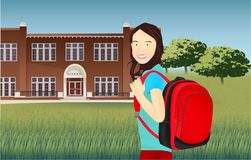 Portrait of schoolgirl with a backpack in nature royalty free stock images