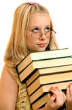 Portrait of schoolgirl with books Stock Photos