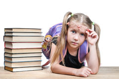 Portrait of a schoolgirl with glasses Royalty Free Stock Image