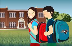 Portrait of schoolgirl and schoolboy with a backpack royalty free stock photography
