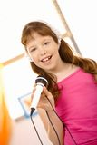 Portrait of schoolgirl singer Royalty Free Stock Images