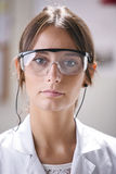 Portrait of scientific woman with glasses. Royalty Free Stock Photos