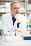 Portrait of a scientist in his laboratory Royalty Free Stock Images