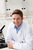 Portrait Of Scientist With Microscope In Laboratory. Portrait Of Male Scientist With Microscope In Laboratory Stock Photo
