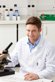 Portrait Of Scientist With Microscope In Laboratory. Smiling Royalty Free Stock Photos