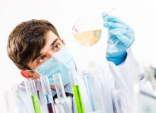 Portrait of a scientist working in the lab. Examines a test tube with liquid Royalty Free Stock Photos