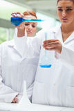Portrait of scientists pouring liquid into a flask Royalty Free Stock Photos
