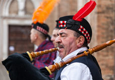 Portrait of a Scottish Bagpiper Royalty Free Stock Image