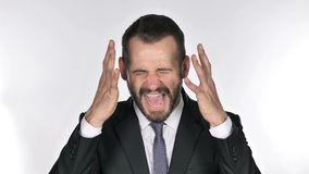 Portrait of screaming beard businessman going crazy stock video footage