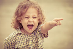 Portrait of a screaming little boy. At the day time Stock Photography