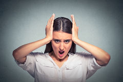 Portrait of a screaming stressed woman royalty free stock photos