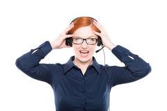 Portrait of screaming  support phone operator in headset. Isolated on white background Stock Photography