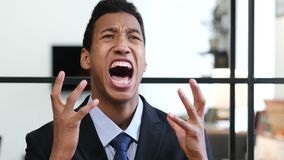 Portrait of Screaming Upset Black Businessman. Young creative designer , good looking stock video