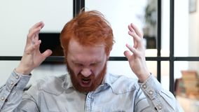 Portrait of Screaming Upset Man in Office. Young creative designer , good looking stock video