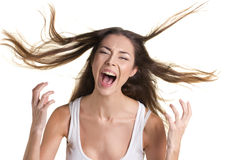 Portrait of a screaming woman Royalty Free Stock Image