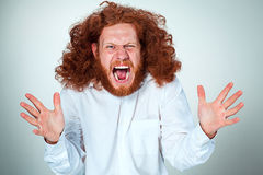 Portrait of screaming young man with long red hair and shocked facial expression on gray background. Portrait of screaming young man with long red hair and with Stock Photo