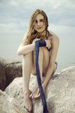 Portrait by the sea. Portrait of beautiful girl infront of the sea Royalty Free Stock Photo