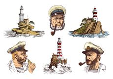 Portrait of a sea captain. Marine old sailor and Lighthouse. Bluejacket, whistle and seaman with beard or men seafarer. Travel by ship or boat. engraved hand Royalty Free Stock Photo