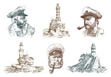 Portrait of a sea captain. Marine old sailor and Lighthouse. Bluejacket, whistle and seaman with beard or men seafarer. Travel by ship or boat. engraved hand Stock Photography