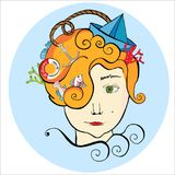 Portrait with sea things, hairstyle with ship and fish, girl with ginger hair stock illustration