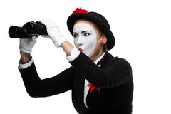 Portrait of the searching mime with binoculars Stock Photography