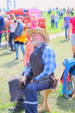 portrait of a seated elderly Smith at the festival Royalty Free Stock Image
