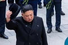 Portrait of the Secretary General of the DPRK North Korea Kim Jong Un stock photography