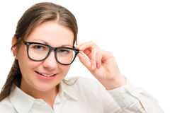 Portrait secretary, hand holds glasses Royalty Free Stock Photography