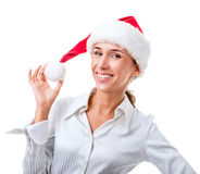Portrait of secretary in the hat of Santa Claus Stock Photography