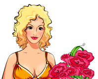 Portrait of the seductive blonde in yellow with a bunch of flowers on white, an illustration Stock Photo