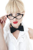 Portrait of seductive businesswoman wearing glasses. Portrait of seductive businesswoman wearing glasses on white background. Woman makes kissing lips Stock Photos
