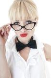 Portrait of seductive businesswoman wearing glasses. Stock Photos