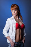Portrait of seductive red-haired slender woman Royalty Free Stock Photos