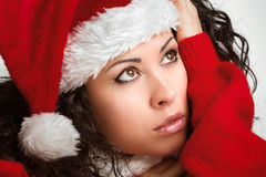 Portrait of a seductive santa girl. Looking aside Stock Photo