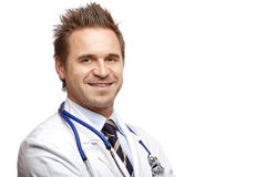 Portrait of self confident medical doctor smiling Stock Photo