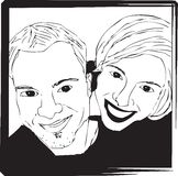 Portrait Selfie Picture of Couple - Black and White Royalty Free Stock Image