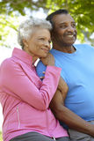 Portrait Of Senior African American Couple Wearing Running Cloth Stock Photography
