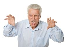 Portrait of a senior angry man Stock Photography